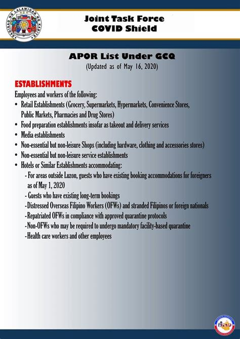 updated list  authorized persons  residence apor