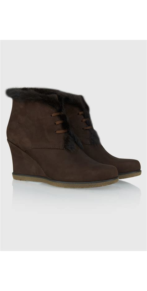 Wedges Bbots W12 unisa shoes suede wedge fur trim boot in moka
