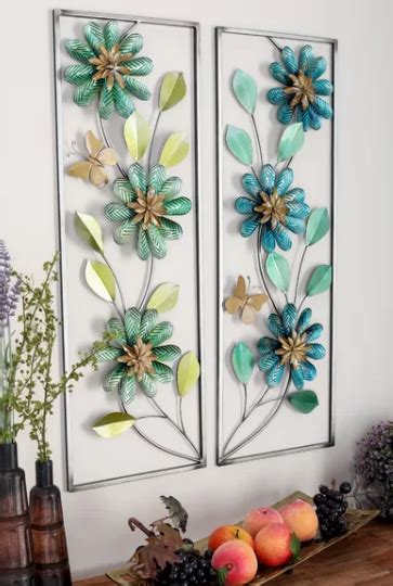 All of these inimitable pieces of metal wall décor are filled with character and personality. 2 Piece Floral Metal Wall Decor Set | Home Wall Art Decor