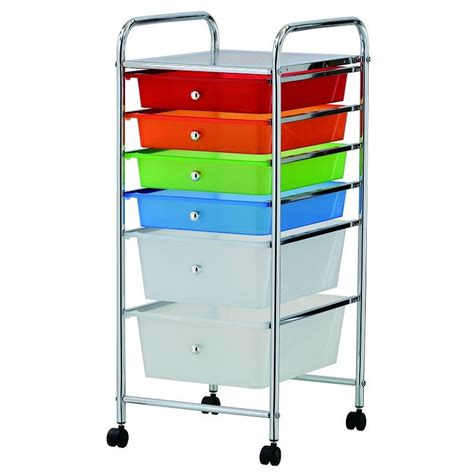 new coloured 6 drawer trolley storage portable cart home