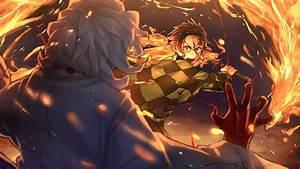 Demon, Slayer, Tanjiro, Kamado, Fighting, Around, Fire, Hd, Anime
