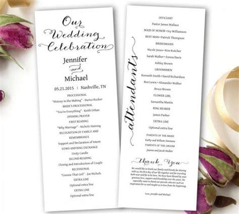 wedding program printable wedding program template tea