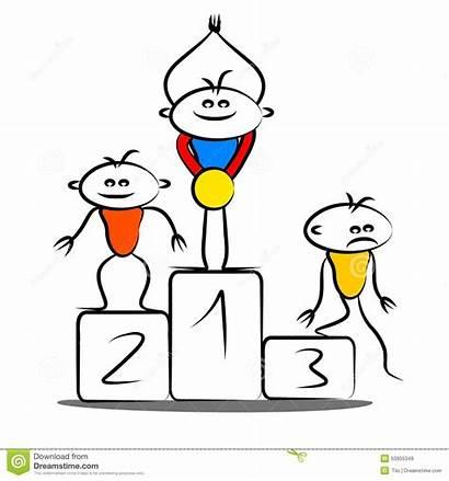 Podium Winning Cartoon Third Second Illustration