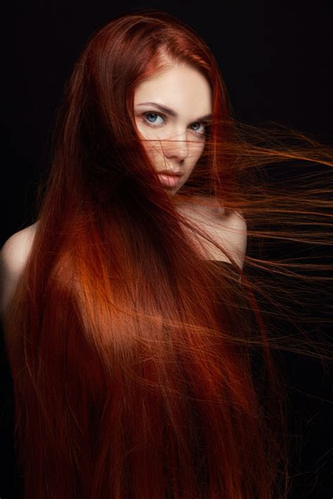 Sexy Beautiful Redhead Girl With Long Hair Photo Premium Download