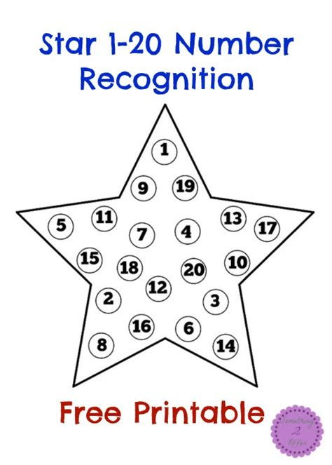 Star 120 Number Recognition Free Printable