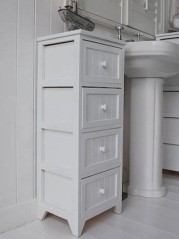 side view   white tall bathroom storage cabinet