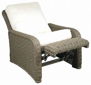 Hauser coastal all weather wicker recliner with cushions for Outdoor reclining chairs