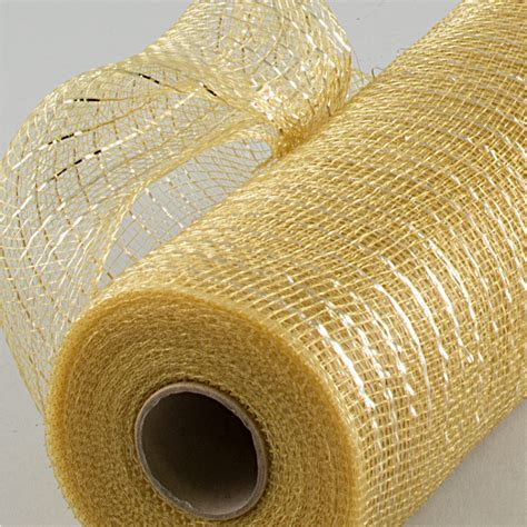 10 quot poly deco mesh metallic chagne gold re1301mt
