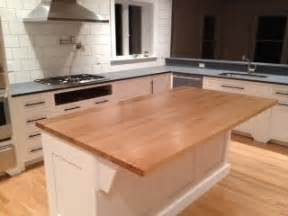 white kitchen island with butcher block top solid maple butcher block island top