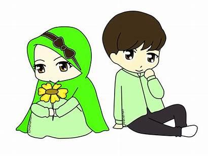 Kartun Gambar Muslim Couple Anak Animasi Orang