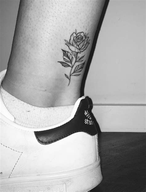rose single needle tattoo      ankle