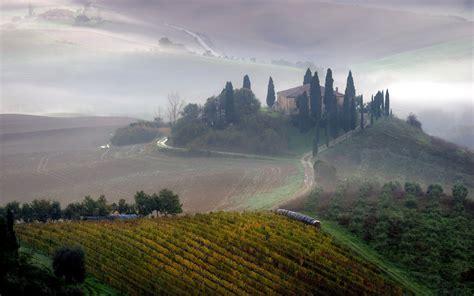 Tuscany Fog Field Morning Landscape Farm Italy Wallpaper
