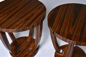 Pair, Art, Deco, Style, Palisander, Round, Side, Tables
