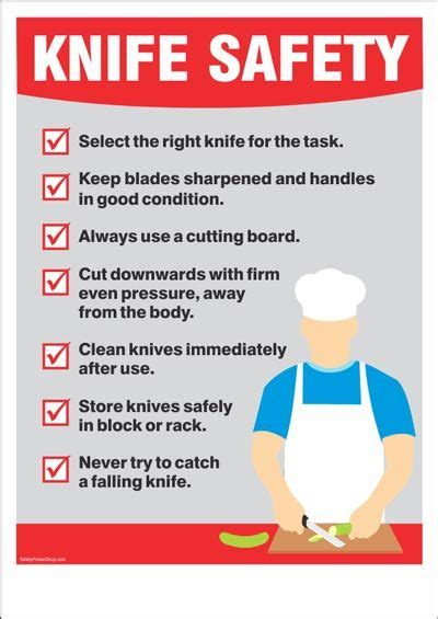 Knife Safety   Kitchen safety, Food safety posters, Food ...