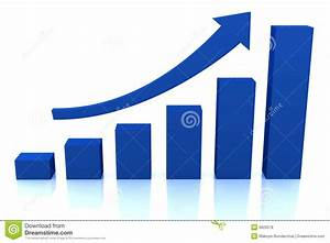 Business Growth Diagram With Blue Arrow Stock Illustration