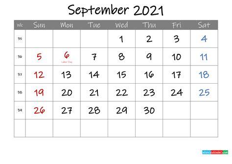View September Printable Calendar 2021  Images