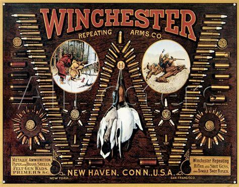 Winchester Tin Sign Bullet Chart Hunting Gun Ammo Display