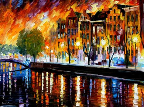 amsterdam modern gallery amsterdam winter reflection palette knife painting on canvas by leonid afremov size 30