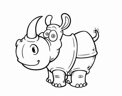 Rhinoceros Rinoceronte Colorear Rhino Coloring Outline Para