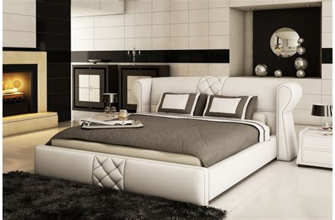 lit en cuir lit design en cuir italien de luxe vegas blanc mobilier priv 233