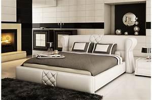 Lit En Cuir : lit design en cuir italien de luxe vegas blanc mobilier priv ~ Teatrodelosmanantiales.com Idées de Décoration