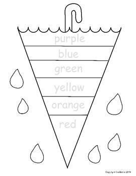 color word umbrella no prep free sheet preschool 594 | b0559e5b4e6a244d63edfe4d8f0868f8