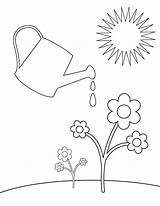 Spring Watering Coloring Printable Pages Flower Springtime Templates Template Garden Sheets Sheknows Preschool Clipart Applique Springy Embroidery Patterns Theme Library sketch template