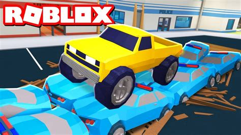 Destroying Cop Cars With A Monstertruck In Roblox Jailb