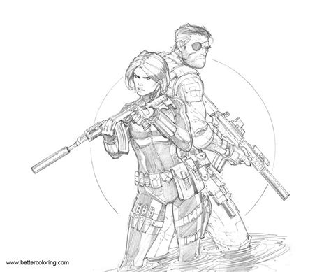 Coloring Pages Black Widow by Black Widow Coloring Pages With Nick Fury By Max Dunbar
