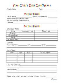 Day Care Toddler Daily Report Sheets