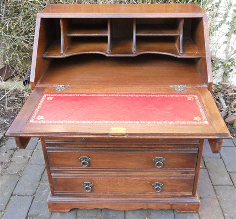 oak writing bureau furniture charm carved oak writing bureau