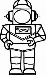 Robot Coloring Astranout Pages Cartoon Wecoloringpage sketch template