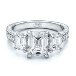 emerald cut three engagement ring custom emerald cut engagement ring 100723