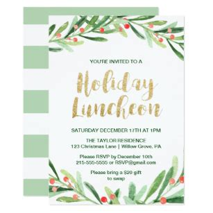 employee holiday luncheon invitation template lunch invitations zazzle