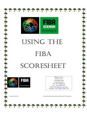 fiba scoresheet  fillable printable top forms