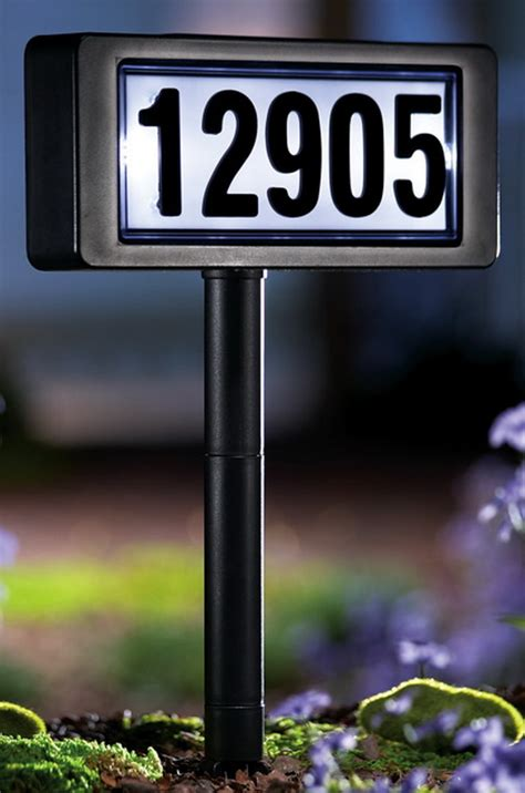 new home address sign solar powered light with yard