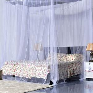 4 corner post bed canopy mosquito net full queen king size for How to buy king size canopy bed