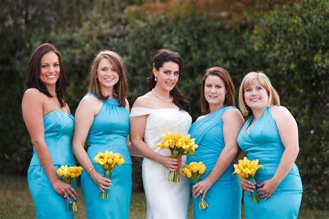 modern yellow  blue wedding   detail