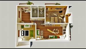 2 Bedroom House Plans Designs 3D small house - House