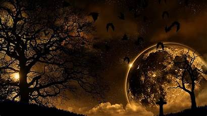 Nature Night Moon Wallpapers Background Landscape Halloween