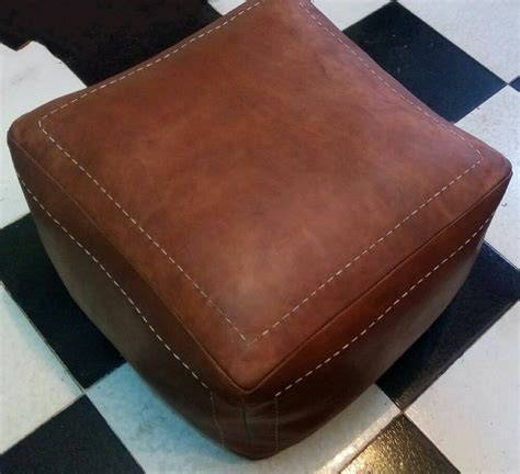 Real Leather Ottoman - un stuffed moroccan genuine leather pouf16 16 14 brown