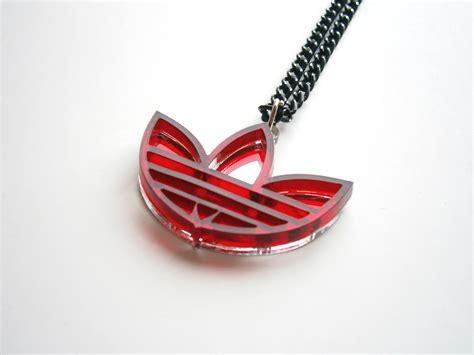 adidas necklace lasercut mirror  red plastic adidas