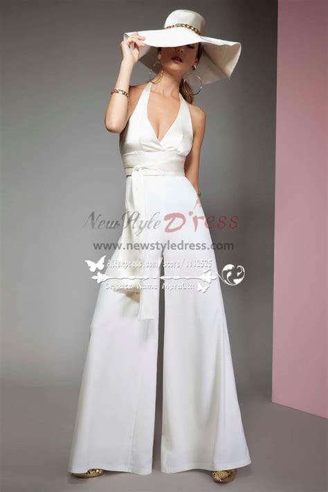 sexy halter deep  neck bridal jumpsuits  chiffon cape