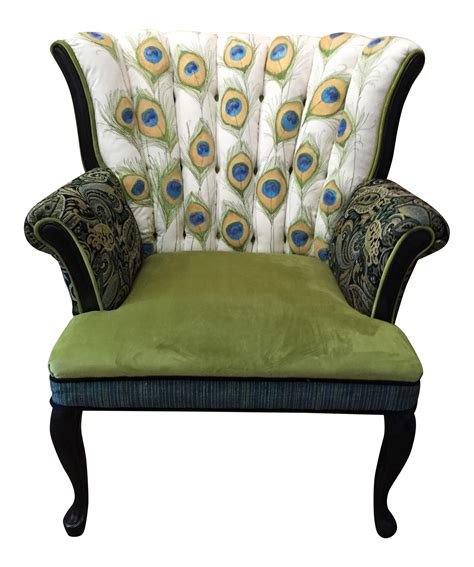 painted peacock channel back chair chairish