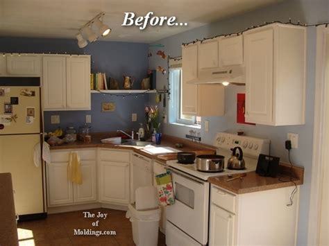 how to add crown molding to kitchen cabinets our kitchen moldings the of moldings 9685