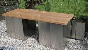 Gartenbank Ohne Lehne Holz : garten im quadrat puristische garten bank ohne lehne aus edelstahl und holz modern ~ Indierocktalk.com Haus und Dekorationen