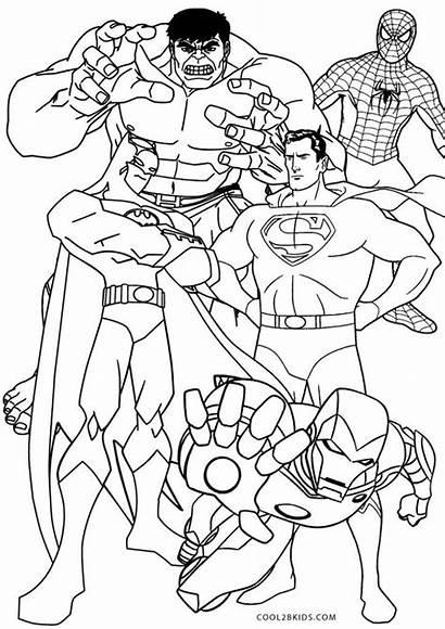Coloring Superhero Colouring Superheroes Printable Marvel Sheets