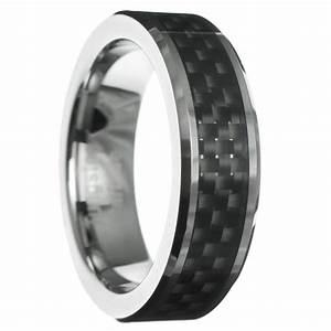 6mm carbon fiber beveled tungsten carbide men women ring With mens wedding ring carbon fiber