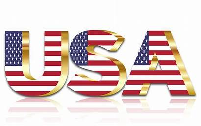 Flag Usa Background Gold Reflection Clipart Typography