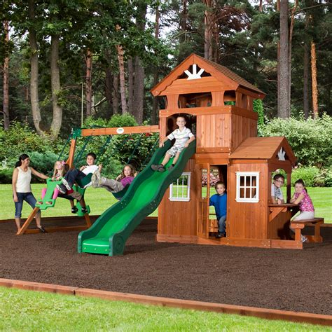 backyard discovery cedar view swing set backyard discovery shenandoah all cedar swing set